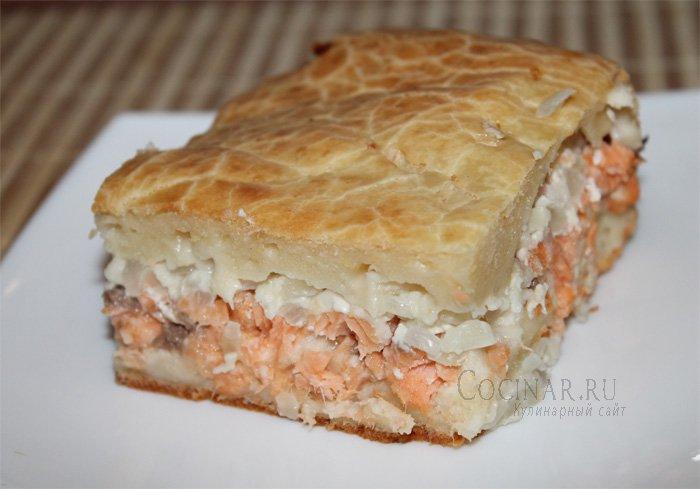 вкусный пирог с красной рыбой пошаговый рецепт с фото