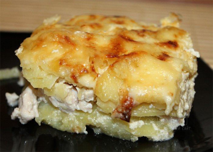 Курица с картошкой и сливками в духовке рецепт пошагово в